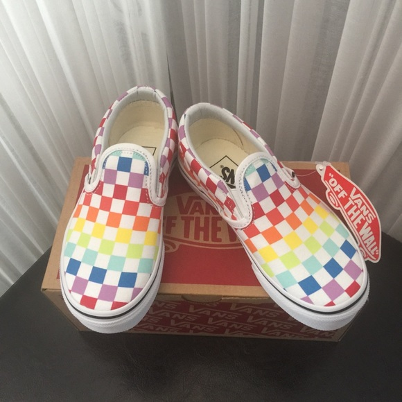 e8a0744b27 VANS Classic Slip-On Checkerboard Rainbow